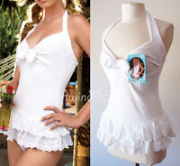 NEW Skinny Dip White Embroidered Eyelet Ruffled Terrycloth CUTE Swimsuit Coverup