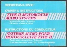 HONDALINE HONDA TYPE II MOTORCYCLE AUDIO SYSTEMS OWNERS INSTRUCTIONS MANUAL