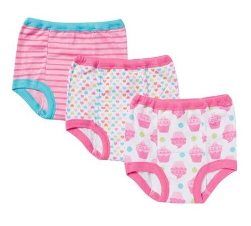 Hearts /& Stripes 2T Gerber Toddler Girl 3-Pack Training Pants; Pink w// Cupcakes