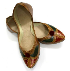 Women Pure Leather Jutti Mojari Sandle Shoe Handmade Traditional Punjabi US