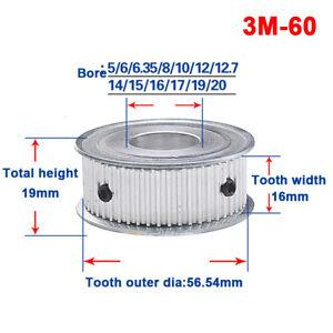 Timing Belt Pulley Gear Wheel 3M60T Bore 6//8//10//12//15//20mm For 15mm Width Belt