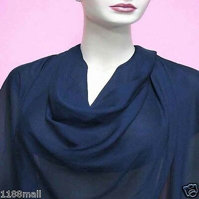 Yard (Navy Blue ) Pure Silk Chiffon Fabric 140cm Wide (yppc-63)Transparents