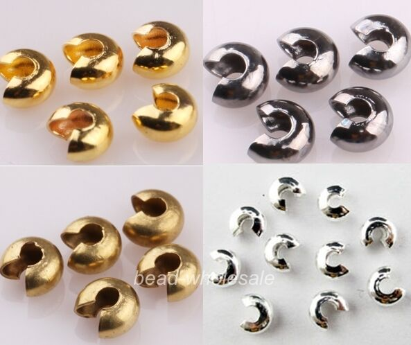 3/4/5mm,Wholesale Lots 200 Pcs Silver/Golden End Crimp Beads Knot Covers Finding