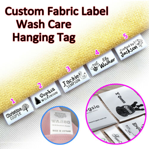 """100pcs 1.2×1.5/"""" Personalized Fabric Garment Bag Label Sew On LOGO Brand Hang Tag"""