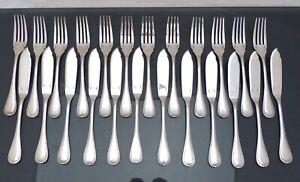 Christofle Malmaison seltenes Fisch Set für 12 Personen schöner Zustand 24pcs Empire