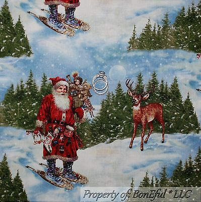 BonEful Fabric FQ Cotton Quilt VTG White Red Green Xmas REINDEER Dot Winter Snow