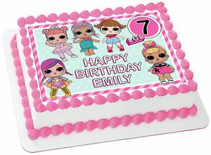 Lol Dolls Pink Mint Edible Wafer Sheet Cake Topper Birthday