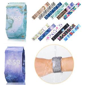 Neuer kreativer Papieruhr-LED wasserdichter Papierband-Digital-Armbanduhr-Mode