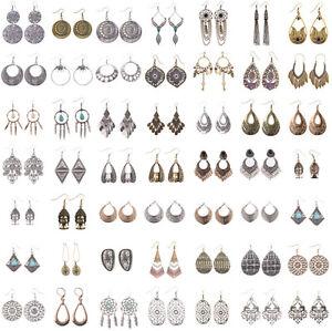 retro-fantaisie-Crochet-d-039-oreill-d-039-oreille-Bijoux-Pendante-femmes-Plume-Boucles