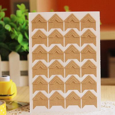 New 24 Pcs Retro Kraft Corner Stickers Picture Handmade Album Photo Good DIY Hot