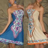 Women Sexy Off Shoulder Summer Dress Floral Print Party Casual Beach Dress S-XL