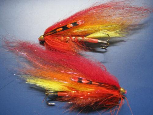 2 V Mouche ULTIMATE Alta Hot in Flames Conehead Salmon Tube Mouche /& triples