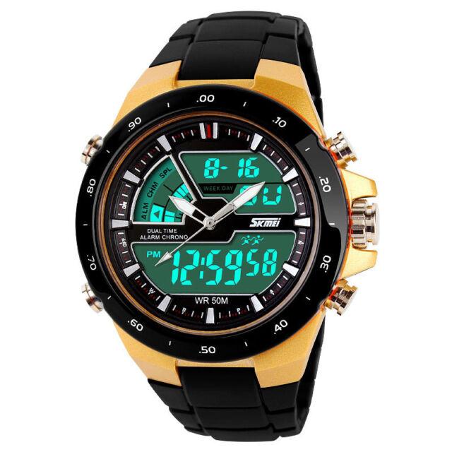 Men's Alarm Sport Digital Analog Dual Display Rubber Wrist Watch LED Backlight