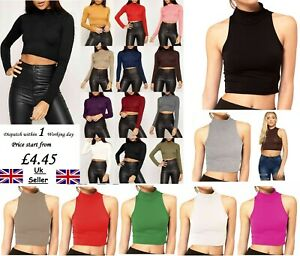 LADIES-WOMENS-LONG-SLEEVE-POLO-TURTLE-SLEEVELESS-ROLL-NECK-CROP-TOP-JUMPER