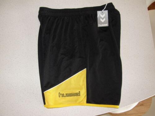 Football Soccer Sports Shorts Hummel Polyester Grassroot Large Black//Yellow NEW!