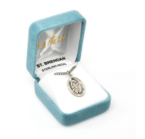 """0.9 /"""" Sterlingsilber Oval Medaille St.Saint Brendan 20 /"""" Kette"""