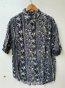 NOW men's retro blue vintage rayon short sleeve ugly tropical shirt size XL