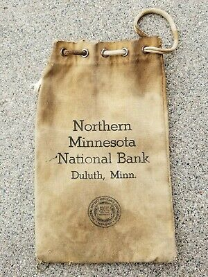 Duluth Radient Vintage 1950's Northern Minnesota National Bank Canvas Money Bag Mild And Mellow Mn