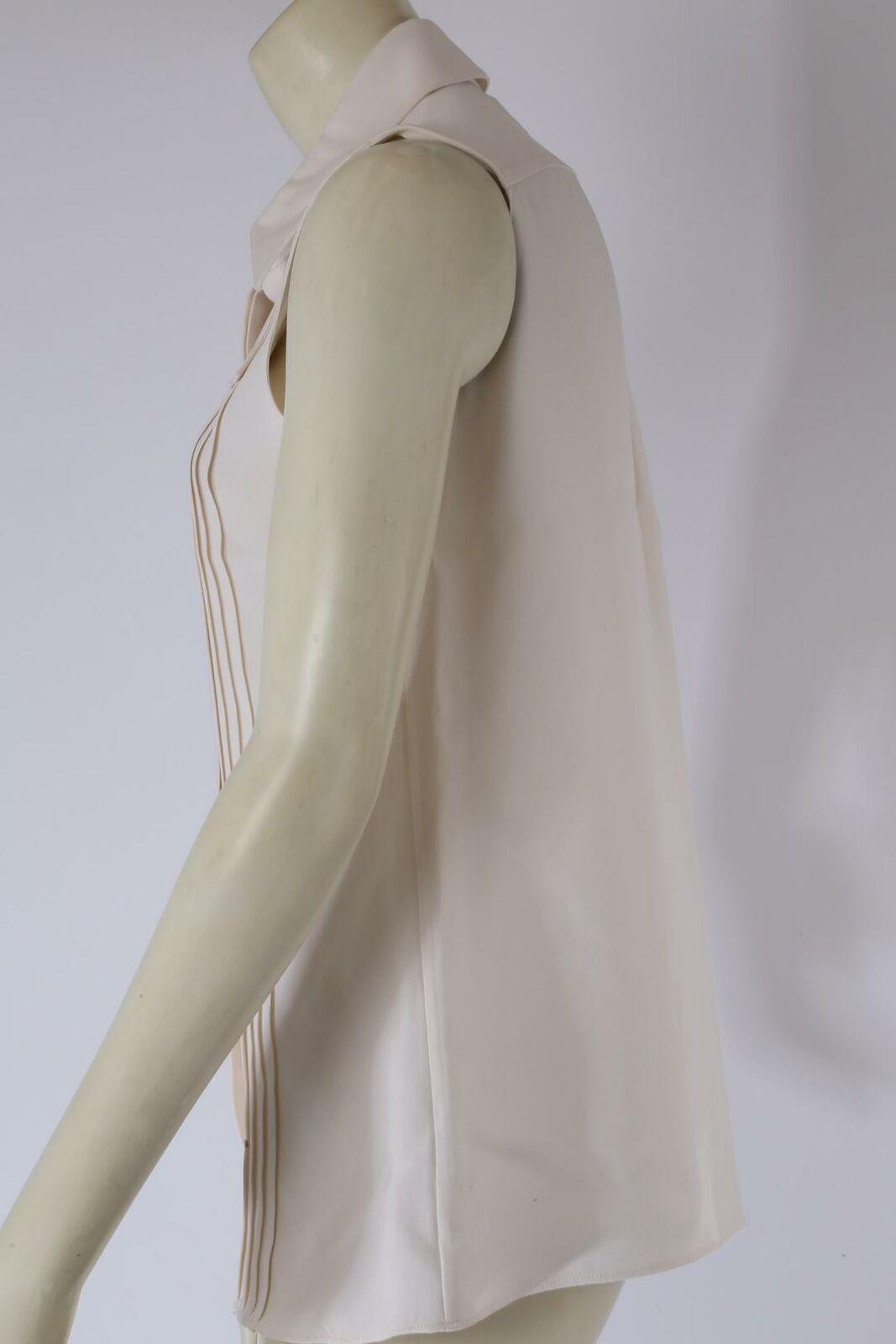 DEREK LAM Ivory Sleeveless Collared Silk Pleated … - image 5