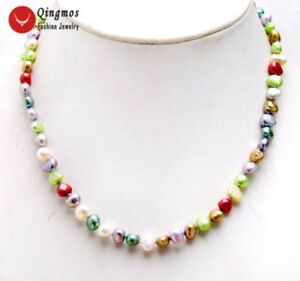 6-7mm-Multicolor-Baroque-Natural-Freshwater-Pearl-Necklace-for-Women-Choker-17-039-039