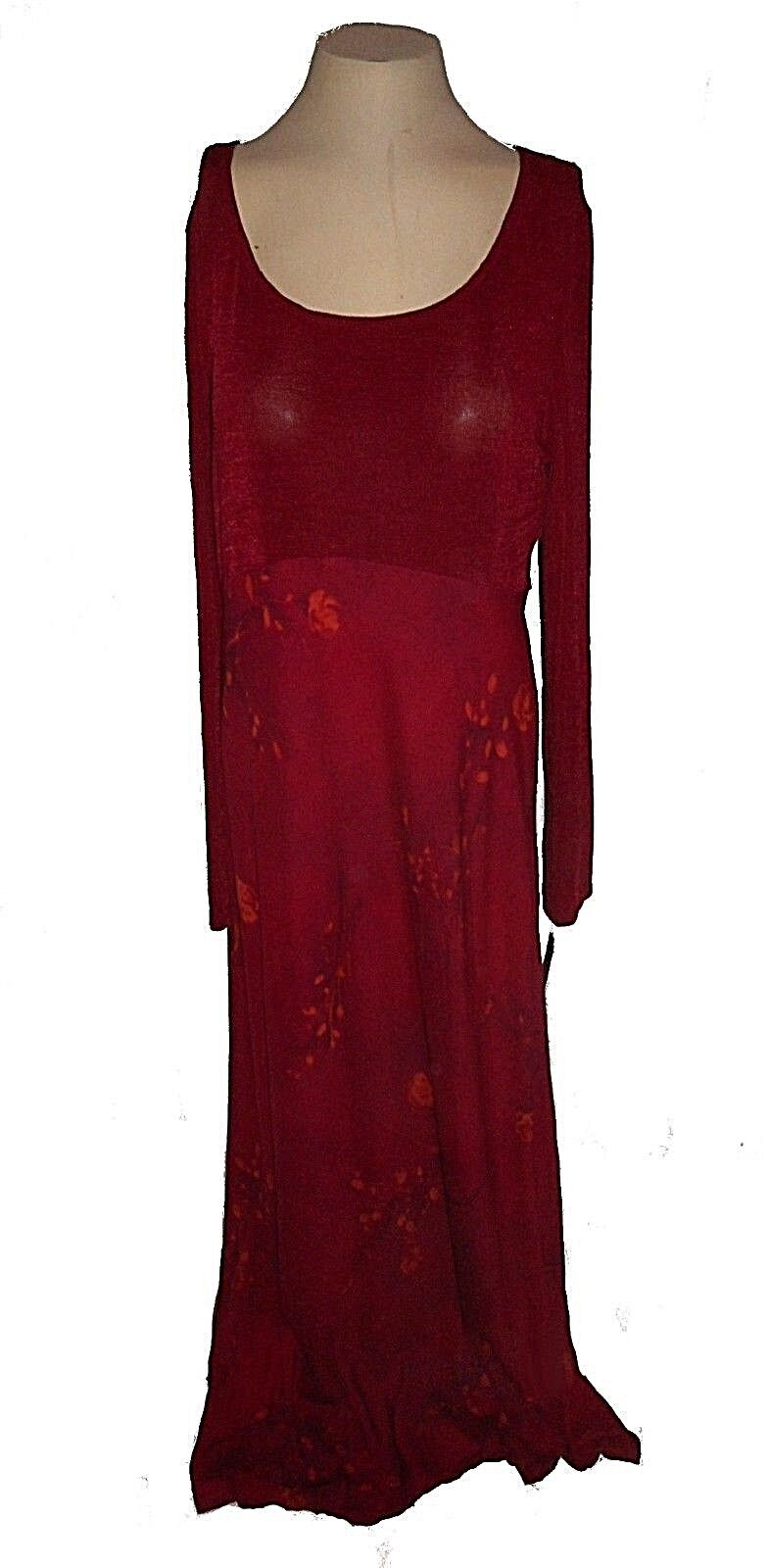 New Dress, St. Tropez West, Park Avenue Wine-Red Floral Stretch Knit Long  10