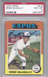 1975-Topps-baseball-card-318-Ernie-McAnally-Montreal-Expos-PSA-8-NMMT