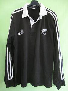 Actif Maillot Rugby Adidas All Blacks New Zealand Vintage Noir Ancien Coton - L