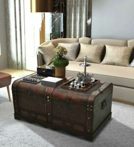 Details About Large Wood Treasure Chest Vintage Coffee Table Storage Trunk Pirate Box Drawers
