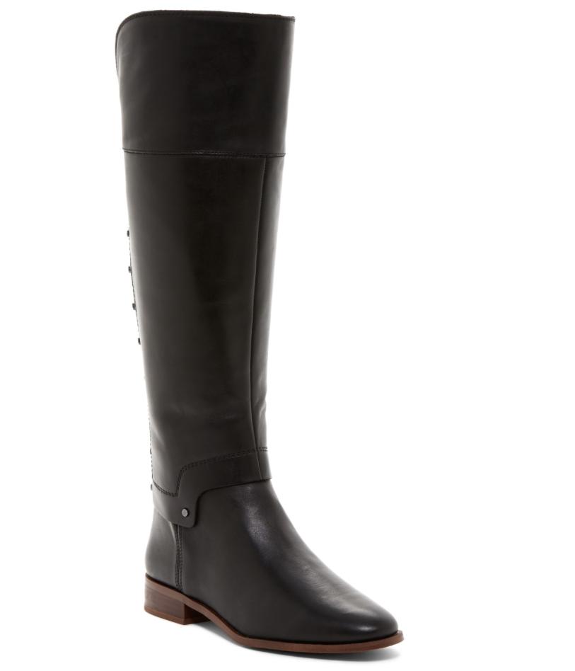 Franco Sarto Roxanna Women's Black Leather Studded Riding Boot Sz 6 2875
