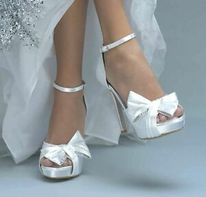 0be513afe60 Image is loading Dyeable-White-Satin-Bow-Rhinestone-Jay-Bridal-Prom-