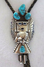 Vintage Navajo DORIS SMALLCANYON Sterling Silver TURQUOISE Kachina Bola BOLO TIE
