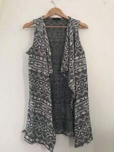 Gutherzig Ladies New Look Cardigan 10 Grey Pattern Casual <jj10742 Guter Geschmack Kleidung & Accessoires Pullover & Strick