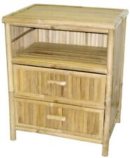 Bamboo Side/Accent/End Table/Night Stand 2 Drawer-No Assembly Required