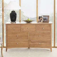 Edward Hopper Oak 7 Drawer Chest, Large Chest Of Drawers,metal Runners,assembled