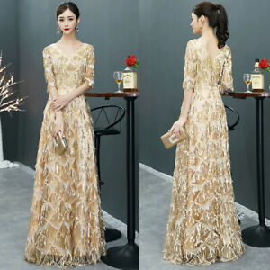 NEW-Evening-Formal-Party-Ball-Gown-Prom-Bridesmaid-Tassels-Long-Dress-SFLF05