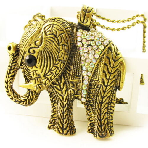 Necklace Gold Colored ELEPHANT metal Crystal Pendant LONG chain Marvel Glaring