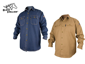 Genuine Revco FS7 FS8 FR Work Shirt Denim KHAKI Black Stallion MD LG XL 2XL 3XL