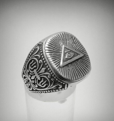 Z++ STERLING SILVER RING SOLID 925 EYE OF THE PROVIDENCE NEW SIZE L