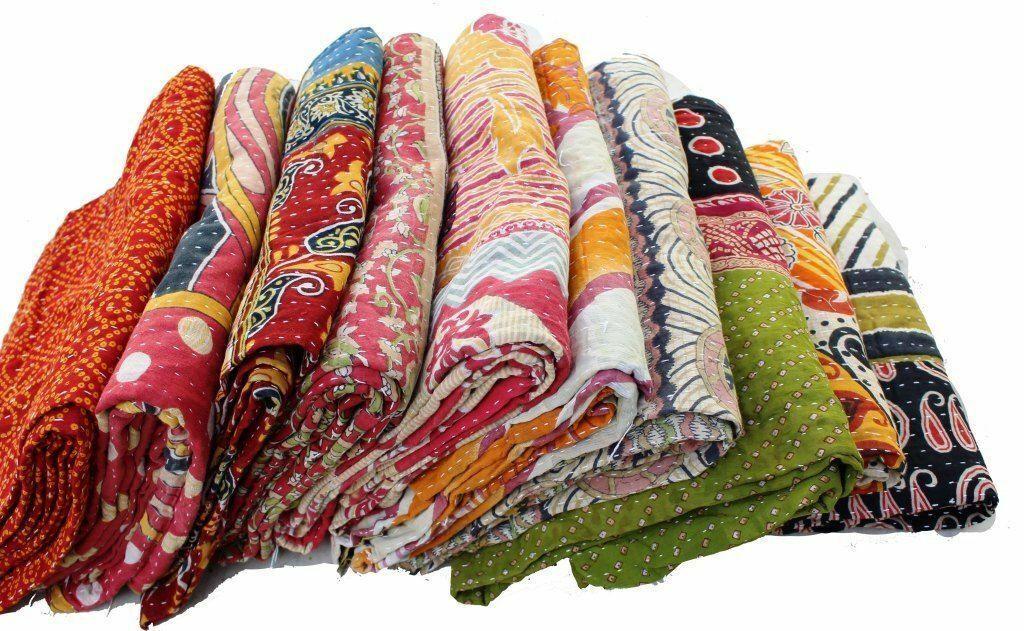 Indian Reversible Indigo Vintage Kantha Throw Quilt Handmade Blanket 10 Pcs Lot