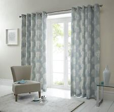 Forest Trees Duck Egg Blue White 66X72 Ring Top Lined Curtains #Seertdoow Cur
