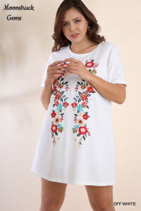 213af9b46a7 Image is loading UMGEE-White-Floral-Embroidered-Short-Sleeve-Tee-Dress-