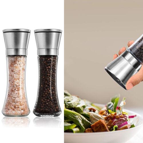 2Pcs Stainless Steel Manual Salt /& Pepper Mill Herb Spice Grinder Hand Shaker UK