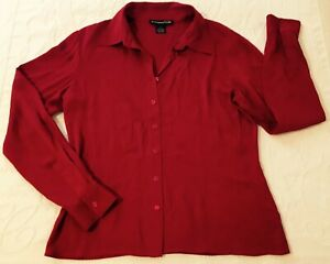 Bloomingdale-039-s-Red-Silk-Blouse-6-Long-Sleeves-Button-Down-Absolutely-Excellent