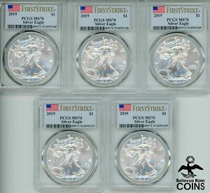 LOT OF 5: 2019 UNITED STATES American Silver Eagle 1oz PCGS MS70 FIRST STRIKE