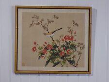 Beautiful Vintage Framed Oriental Painting on Silk w Bird on Limb / Flower Bush