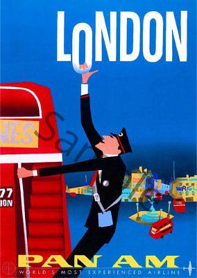A2  Reprint Vintage Pan Am Flights To London Poster A3
