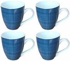 Sketch Set of 4 Mugs Porcelain Extra Large Coffee Soup Hot Cocoa Mugs Blue