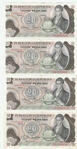 Colombia-20-Pesos-1977-1979-Banknotes-Papermoney-Lot-of-4-Crisp-AU-Unc