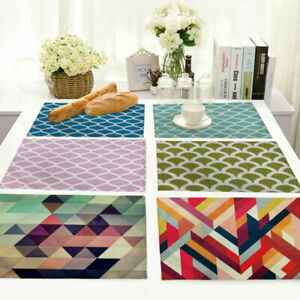 Details About Geometry Cotton Linen Placemats Pattern Dining Coffee Table Mats Home Kitchen