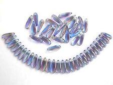 50 MULTI-COLOURED Czech glass dagger beads - 3x10mm (tt004)